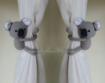 A pair of Light Gray Koala Bear Amigurumi,  Koala Bear Curtain Tiebacks  (Both sides)  MADE TO ORDER..