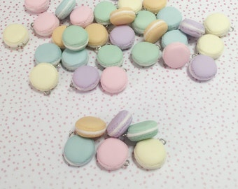 x6 Miniature  Pastel Macaroon Charms, ideal for diy accessory, for necklace, earrings, planner charms & more!