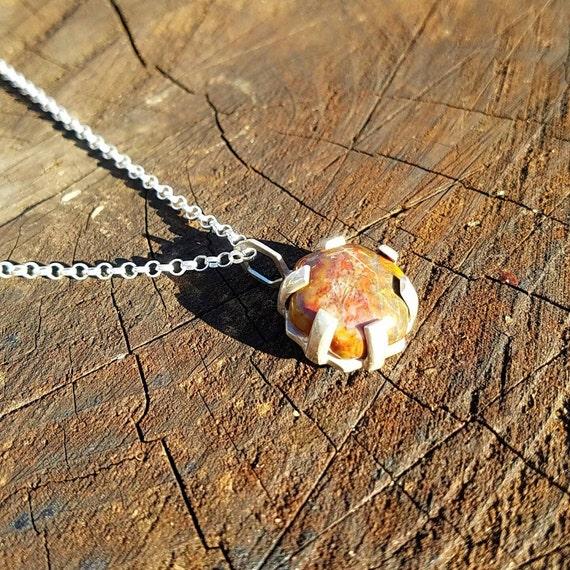 Sterling Silver Hexagon Morgan Hill Poppy Jasper Pendant with Chain