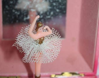 Swan Lake Ballet Musical Jewellery Box with Dancing Ballerina. Pink Colour Theme Plays The Theme From Swan Lake