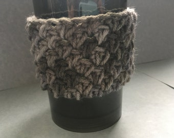 Grey mug sleeve, coffee mug sleeve, to go cup, grey cozy, grey sleeve, grey cup cozy, cup cozy, cup sleeve, stocking stuffer, crochet cozy