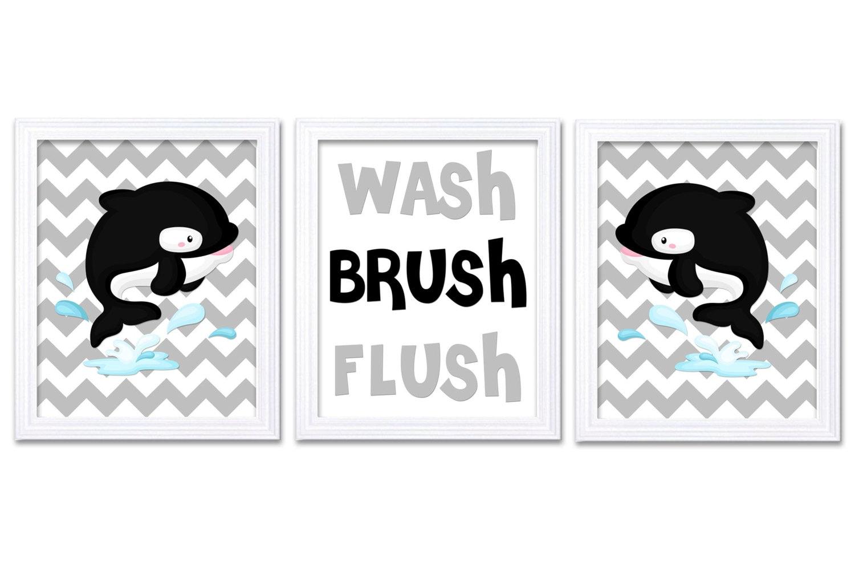 Killer Whale Wash Flush Brush Grey Black Bathroom Print Nursery Art Print Set of 3 Beach Ocean Strip