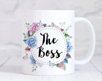 The Boss Mug, The Boss Mug, The Boss Coffee Mug, The Boss Gift, Womens Mug, Gift For Her, Butterfly Mug, Birthday Gift, Christmas Gift