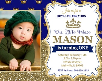 Prince Birthday Party Invitation, First Birthday, Royal, Any Age -  Printable or Printed
