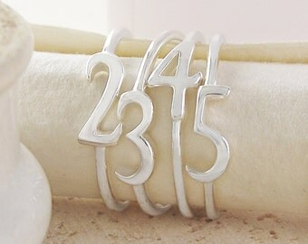 Personalised Ring, Silver Ring, Sterling Silver Ring, Number Ring, 925 Silver Ring, Birthday Ring, Stackable Ring, Unique Ring, Date Ring