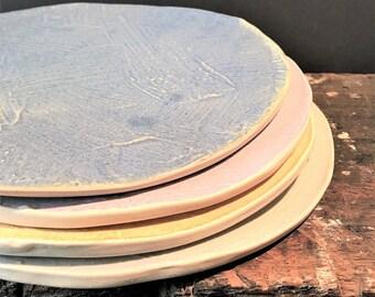 handbuild textured plates, set of 4