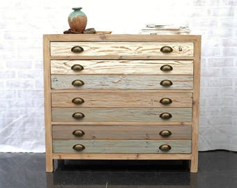 Beach Hut Style Chest of Drawers - Cool ocean tones - Made from reclaimed wood : )