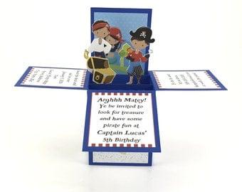Pirate Birthday Invitations - Pirate Invitation - Pirate Party Invitation - Kids Birthday Party Invitation - 3D Invitation - Pop Up Invite