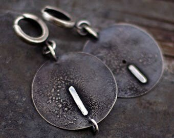 SALE 10 - 20 % OFF use the code • raw silver earrings •  big disc earrings  • oxidized sterling silver earrings • hoop earrings black silver