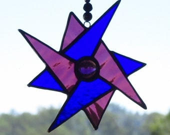 Cobalt Blue and Purple Geometric Star,Stained Glass Suncatcher, Geometric Spinner,Leadlight Suncatcher, Hancrafted, Free domestic postage