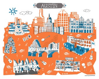 Wall Art-Austin-Art Print-3 Color-City Illustrations-10x8-Blue-Orange-Grey