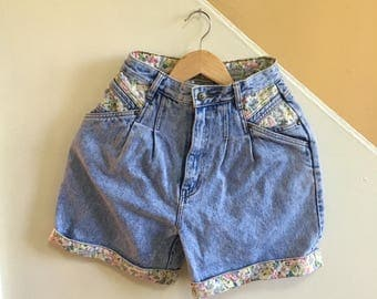 Vintage Rio by Stephen Mardon High Waisted Floral Jean Shorts