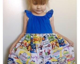 Disney classic storybook dress - size 2t, 3t, 4t, 5, 6, 7, 8, girls disney dress, Peter Pan dress, dumbo, bambi, vintage disney dress