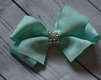 Turquoise White Polka Dot Boutique Style Hair Bow