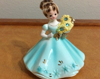 Josef Original March Girl Figurine -Turquoise Dress