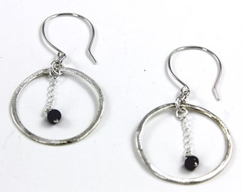 Earrings, Hoops of Silver Overlay with Small Peacock Freshwater Pearl Dangle, Sterling Ear Wires Artisan Designed and Crafted | MAE jewelry