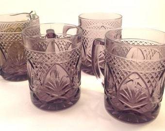 set of 4 vintage Luminarc purple amethyst clear cut glass coffee or tea mugs