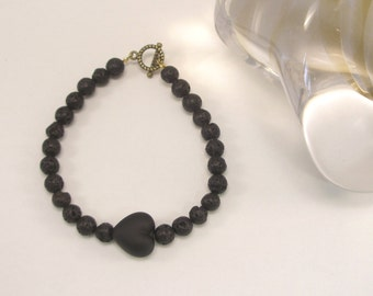 Lava stone  Bracelet, Murano glass heart, Venetian Jewel, Beaded bracelet, Valentine's day