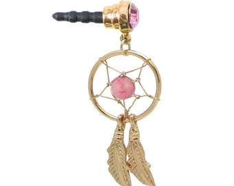 Phone Charm Dust Plug Goldtone DREAM CATCHER Curved Feathers Pink Gem and Bead for Cell iPhone Android Galaxy Mobile Ipad Tablet