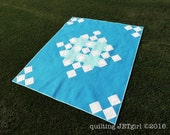 Snowflake Shimmer in Blue, Large Lap Quilt, Handmade by Quilting Jetgirl