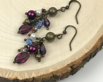 Cluster Earrings with Mauve, Blue and Antique Wires #1128