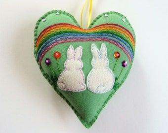 Bunny Felt Heart Ornament, Rabbit Heart Ornament, Spring Decor, Doorknob Hanger, Doorknob Pillow, Rainbow Ornament, St Patricks Day, Sequins