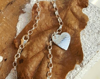 Handcrafted Sterling Silver 925 Bark Textured Heart Charm Bracelet by Silverbird Designs