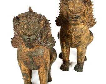 Pair of Antique Cambodian Foo Dogs -Gilt Bronze
