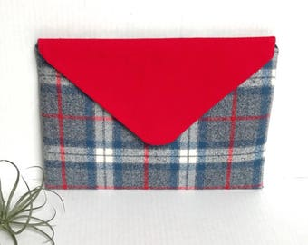 Plaid Flannel Envelope Clutch Evening Bag, Gray and Red Red for a country modern look.