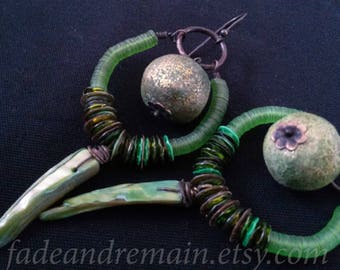 Shell dagger earrings. Shipwreck Dandy. Polymer clay beads. Space hippie. Festival jewelry. Olive green. Copper glitter. Neon green. Alien