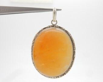 Vintage Sterling Silver/925 Oval Brownish Agate Bezeled Dangle Pendant; 19.3gr ; sku # 3061