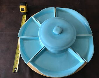 Vintage Lazy Susan with ceramic trays