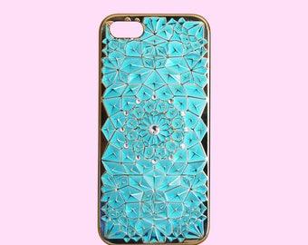 Aqua Mermaid Gem Diamond with Gold Border Phone Case for iPhone 5/5S