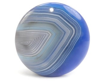 Blue Onyx Pendant, Blue Stripe Focal Bead, Natural Stone Pendant Bead G1024