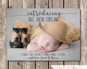 Introducing Baby Birth Announcement - Modern Birth Announcement - Classic Birth Announcement - Photo Birth Announcement Card