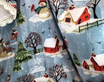 Winter Snow Scene Crochet Edge Fleece Blanket, White Backing, 48x48 Double Layer Fleece, Shimmer Sparkle Scallop Edge, Blanket Throw #48-8D