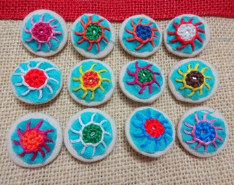 Fabric Covered Buttons, Decorative Buttons, Sew on Buttons with Mirrors, Embroidered Buttons - 12 count