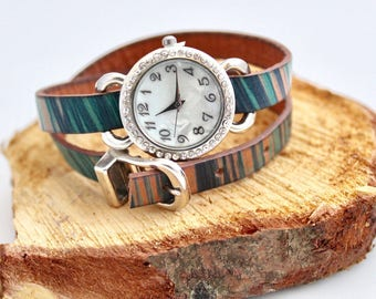 Rhinestone Wrap Watch, Leather Wrap Watch, Multicolor Watch, Unique Women's Watch, Italian Leather Watch, Trendy Watch, Gift For Her