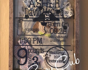 how to create a baby birth shadow box