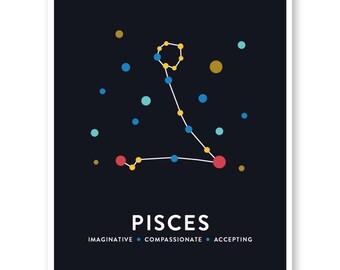 Pisces Print, Pisces Constellation, Constellation Art, Astrology Print, Zodiac Signs, Pisces Art, Nursery Art, Star Map
