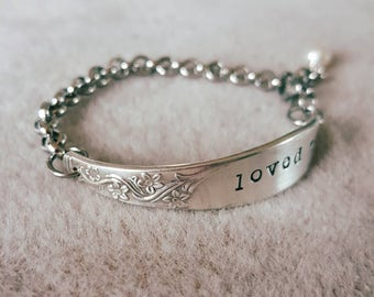 Spoon bracelet for young girl. ID Bracelet