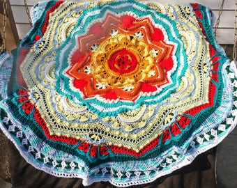 Mandala Madness Crochet Blanket Handmade Afghan Full  Bedspread Crochet Afghan Chunky Knit  Woven Throw Blanket Rug. Ready to Ship