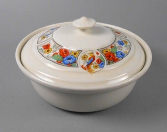 Hall China Forman Brothers Eden Bird Covered Casserole Dish