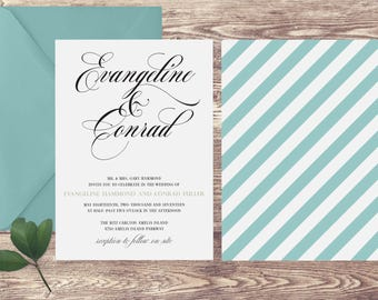 The Amelia Wedding Invitation and RSVP Set, Elegant Wedding Invitations, Invitation for Formal Wedding, Invitation with Teal