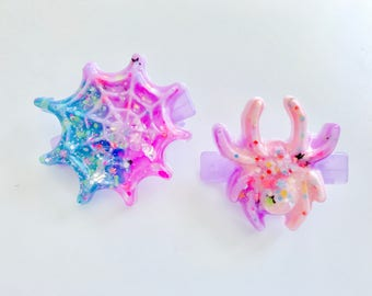 Creepy Cute Spider And Spiderweb Resin Pastel Hair Clip Set