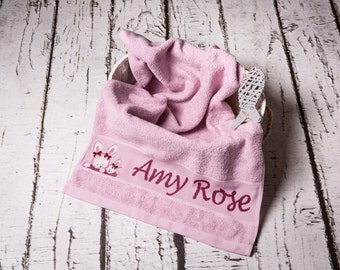 Towel embroidered with name and motif
