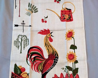 1960s Rooster Novelty Print Linen Tea Towel