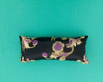 Organic Lavender and Flax Seed Eye Pillow, Silk Flax Seed and Lavender Eye Pillow, Black Silk Lavender Eye Pillow, Yoga, Lavender Eye Pillow