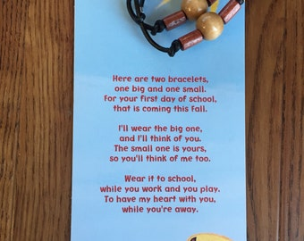 Back to school-first day of school-mother son-mommy and me-children's bracelet