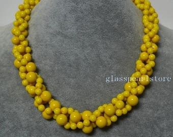 Yellow necklace,Yellow bead necklace, glass pearl necklace,gradually necklace, twisted necklace, wedding necklace, bridesmaid necklace